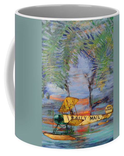 Airplane Coffee Mug featuring the painting The Daily Mail by Jeff Seaberg