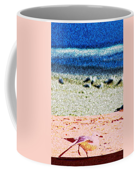 Seagull Coffee Mug featuring the digital art The Dancing Seagull by Bob Pardue