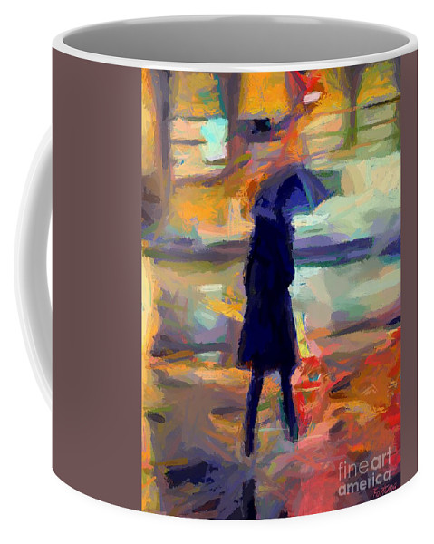Silhoette Coffee Mug featuring the painting The Day For An Umbrella by Dragica Micki Fortuna