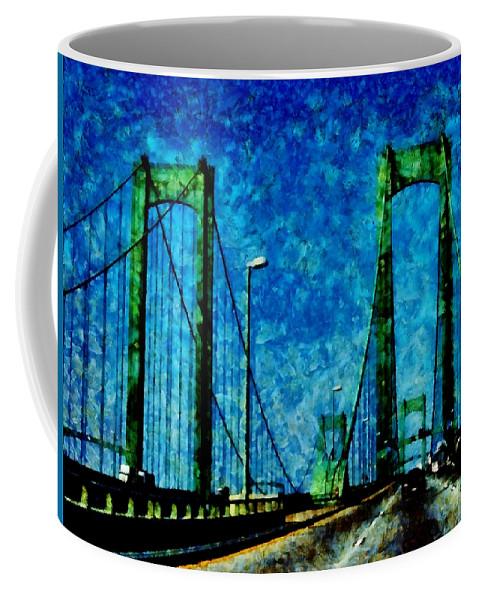 Delaware Memorial Bridge Coffee Mug featuring the photograph The Delaware Memorial Bridge by Angelina Tamez