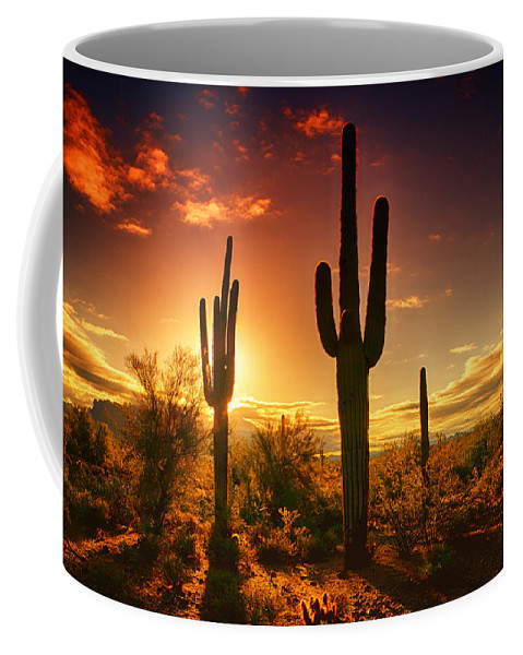 Saguaro Sunrise Coffee Mug featuring the photograph The Desert Awakens by Saija Lehtonen