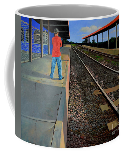 Railroad Coffee Mug featuring the painting The Distance Of Solitude by Christopher Shellhammer