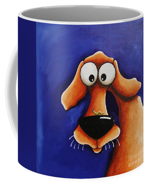 Dog Coffee Mug featuring the painting The Dog And The Caterpillar by Lucia Stewart