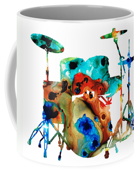 Drum Coffee Mug featuring the painting The Drums - Music Art By Sharon Cummings by Sharon Cummings