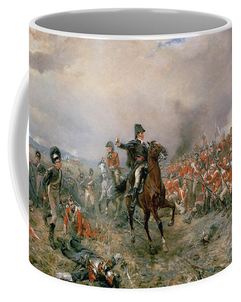 The Coffee Mug featuring the painting The Duke Of Wellington At Waterloo by Robert Alexander Hillingford