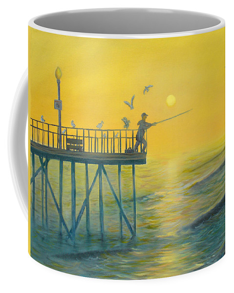 Pier Coffee Mug featuring the painting The Early Rod Takes The Cod by Ryan Williams