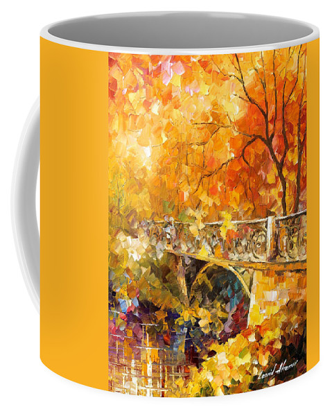 Oil Paintings Coffee Mug featuring the painting The Embassay Of Autumn - Palette Knife Oil Painting On Canvas By Leonid Afremov by Leonid Afremov