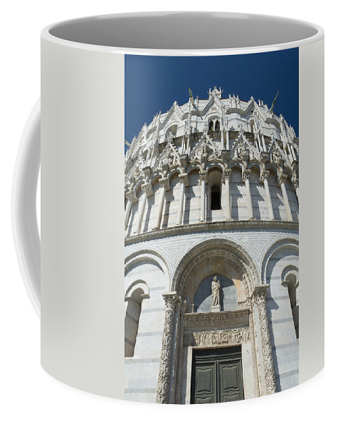 Baptisterium Coffee Mug featuring the photograph The Entrance To The Baptistery In Pisa by Jaroslav Frank