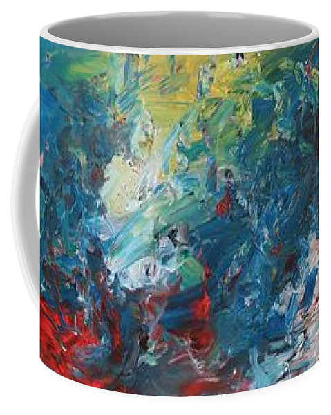 Abstract Coffee Mug featuring the painting The Eruption Of Subduction by David Mayeau