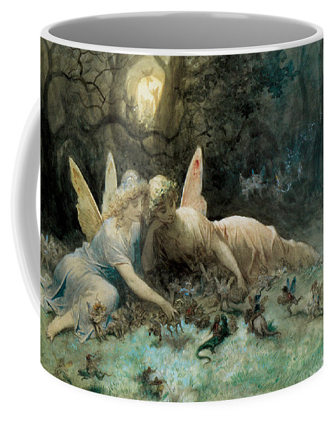 The Fairies From William Shakespeare Scene Coffee Mug featuring the digital art The Fairies From William Shakespeare Scene by Gustave Dore