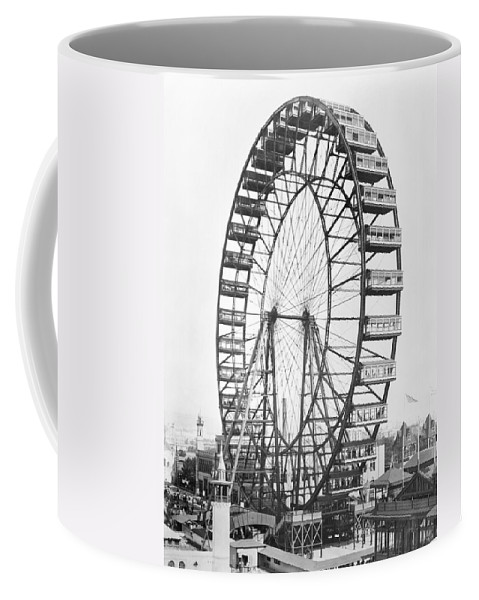 Fairground Coffee Mug featuring the photograph The Ferris Wheel At The Worlds Columbian Exposition Of 1893 In Chicago Bw Photo by American Photographer