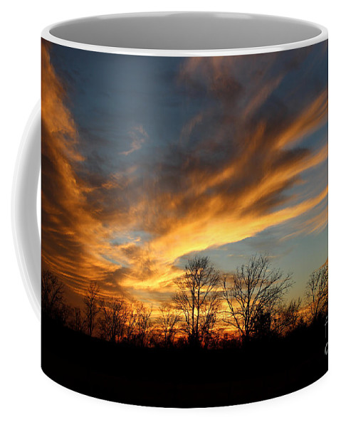 Sunsets Coffee Mug featuring the photograph The Fiery Sky by Kathy White
