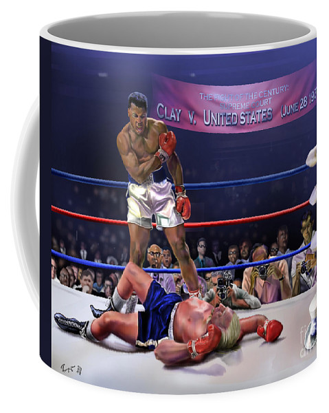 Political Satire Painting Coffee Mug featuring the painting The Fight Of The Century - June 28 1971 C-vs-us by Reggie Duffie