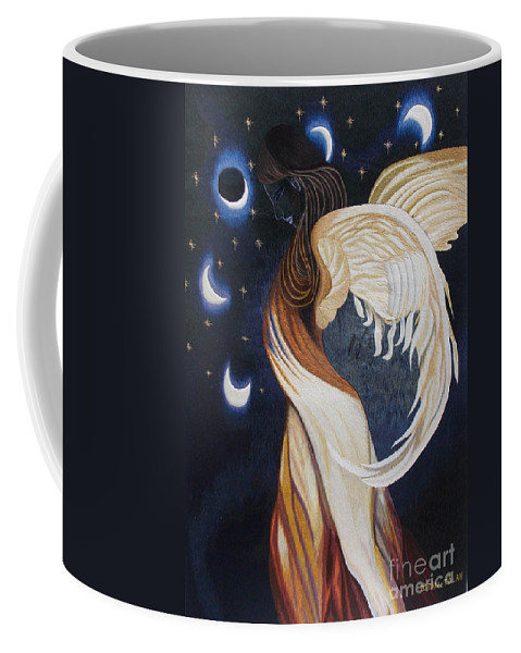 Eclipse Coffee Mug featuring the tapestry - textile The Final Eclipse Before The Millenium Hand Embroidery by To-Tam Gerwe