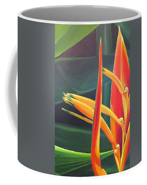 Bird Of Paradise Coffee Mug featuring the painting The Final Flame by Hunter Jay