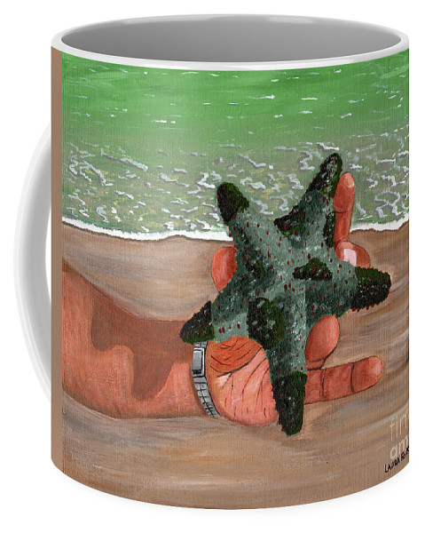 Starfish Coffee Mug featuring the painting The Find by Laura Forde