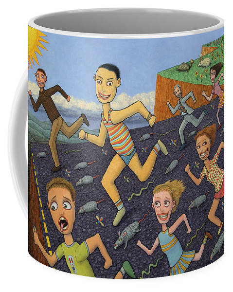 Running Coffee Mug featuring the painting The Finish Line by James W Johnson