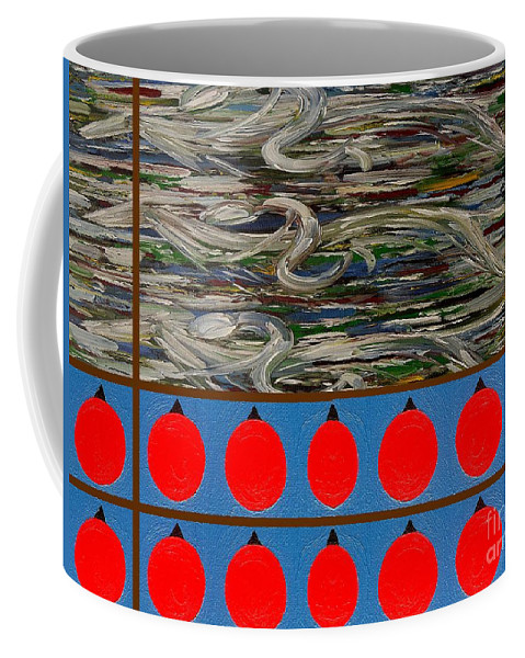 Horses Coffee Mug featuring the painting The Finishing Line by Patrick J Murphy