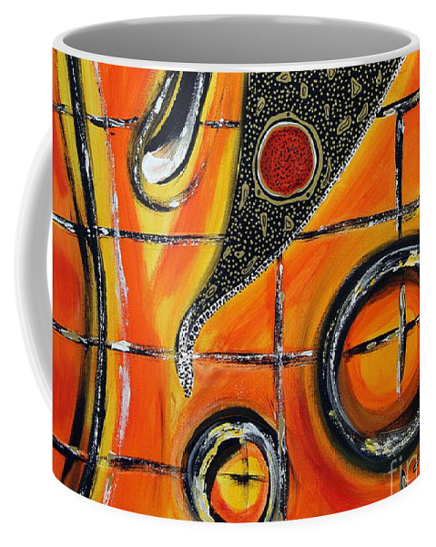 Fire Coffee Mug featuring the painting The Fires Of Charged Emotions by Jolanta Anna Karolska