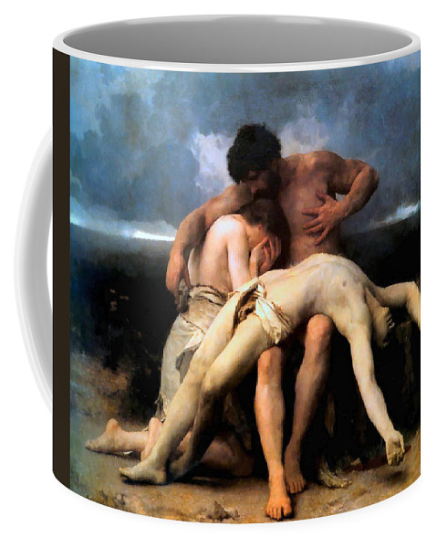 The First Mourning Coffee Mug featuring the digital art The First Mourning by William Bouguereau