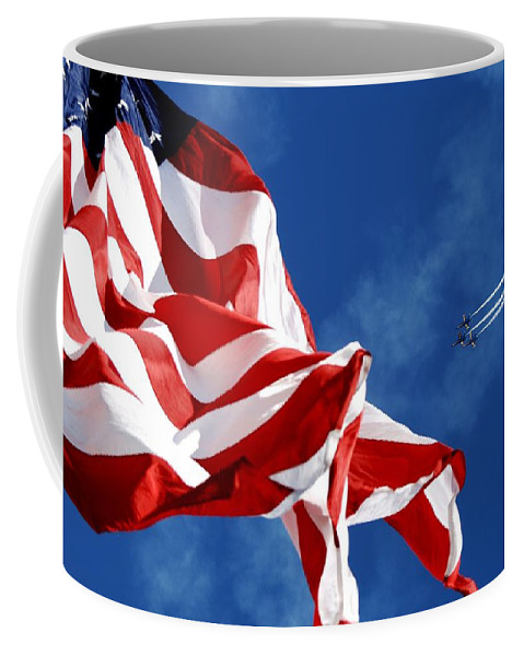 Navy Coffee Mug featuring the photograph The Flag And The Blue Angels by Mountain Dreams