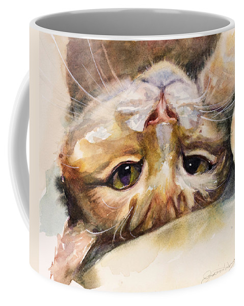 Cat Coffee Mug featuring the painting The Flirt by Judith Levins