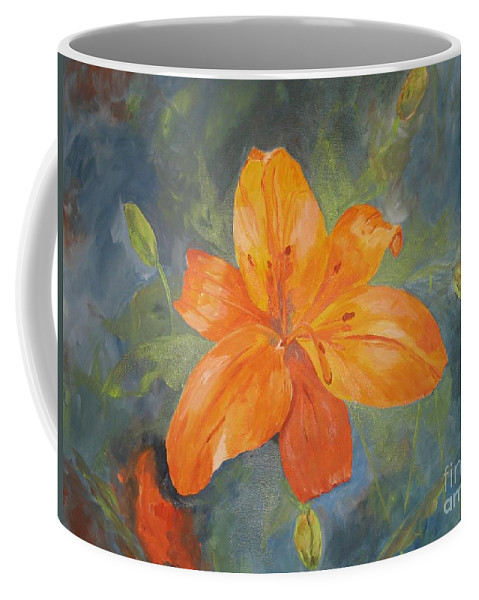 Hibiscus Coffee Mug featuring the painting The Flower by Graciela Castro