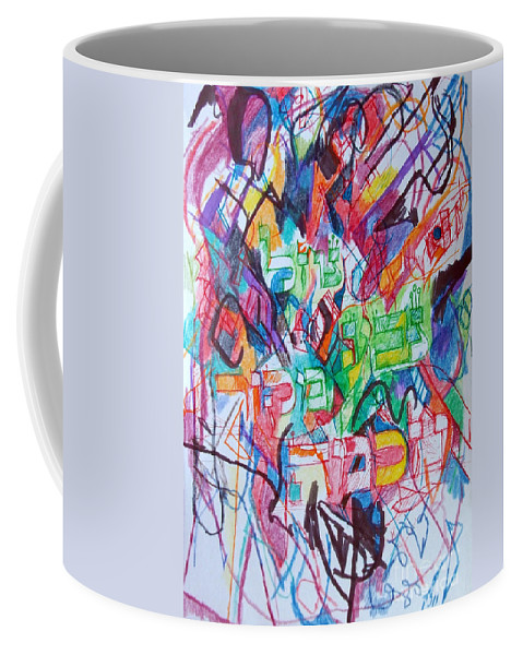 Torah Coffee Mug featuring the painting The Flowing River The Source Of Wisdom 1 by David Baruch Wolk