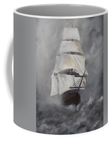 Ship Coffee Mug featuring the painting The Flying Dutchman by Virginia Coyle