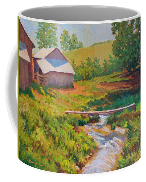 Impressionism Coffee Mug featuring the painting The Foot Bridge by Keith Burgess