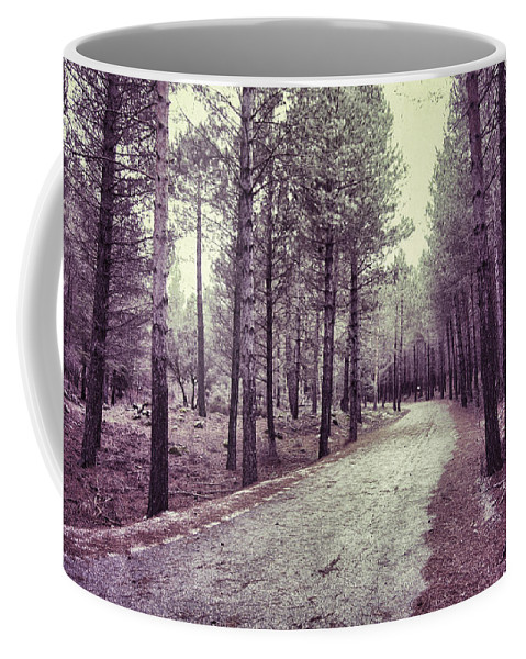 Retro Coffee Mug featuring the photograph The Forest Road Retro by Guido Montanes Castillo