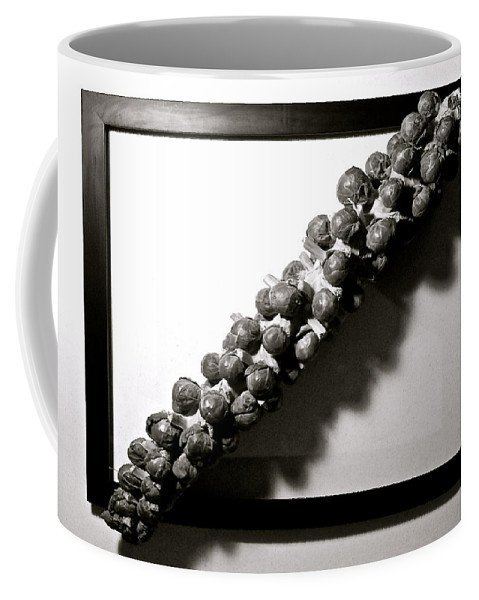 Brussels Sprouts Coffee Mug featuring the digital art The Framing Of Brussels Sprouts by Gary Olsen-Hasek