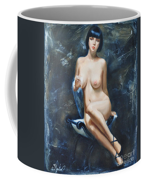 Oil Coffee Mug featuring the painting The French Model by Sergey Ignatenko