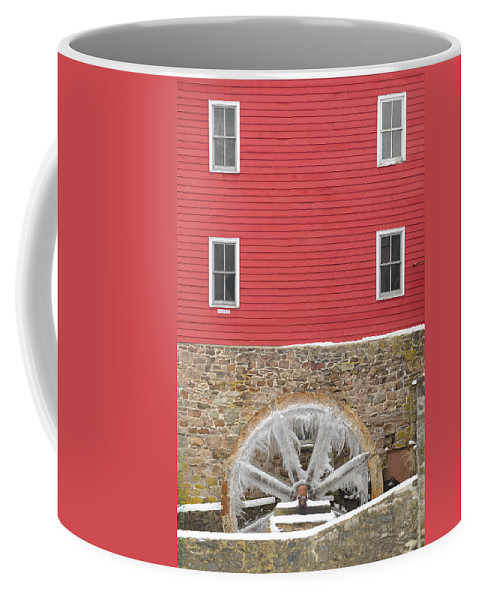 Mill Coffee Mug featuring the photograph The Frozen Wheel by Mark Robert Rogers