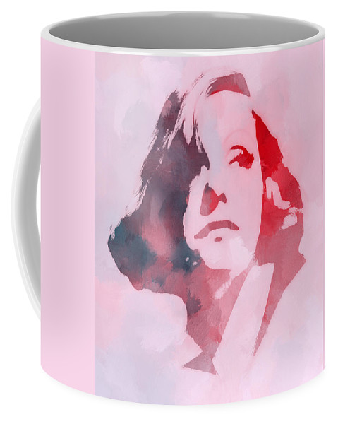 Greta Garbo Face Portrait Expressionism Female Erotic Woman Actress Famous Vintage Look Beauty Diva Devine Painting Coffee Mug featuring the painting The Garbo by Steve K