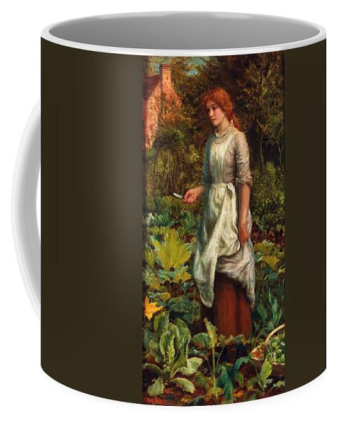Arthur Hughes Coffee Mug featuring the digital art The Gardeners Daughter by Arthur Hughes
