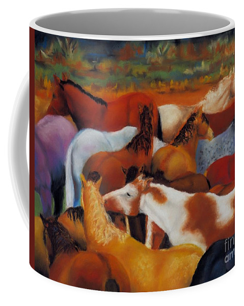 Herd Of Horses Coffee Mug featuring the painting The Gathering by Frances Marino
