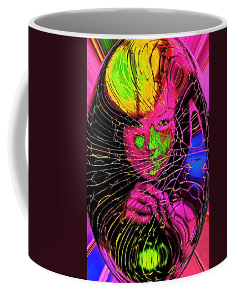 Abstract Coffee Mug featuring the painting The Girl In The Glass Egg by Michael Pickett