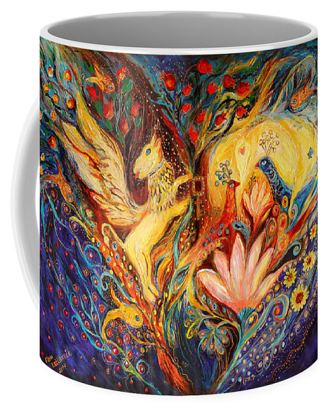 Jewish Art Prints Coffee Mug featuring the painting The Golden Griffin by Elena Kotliarker