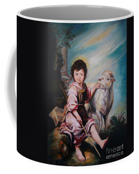 Classic Art Coffee Mug featuring the painting The Good Shepherd by Silvana Abel
