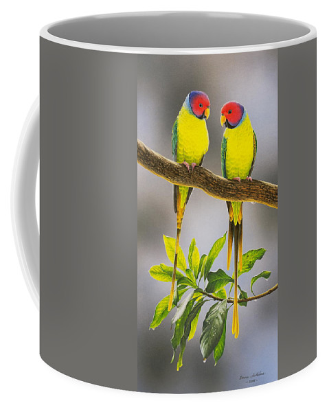 Bird Paintings Coffee Mug featuring the painting The Gorgeous Guys - Plum-Headed Parakeets by Frances McMahon