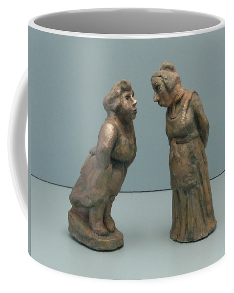 Woman Sculptures Originals Coffee Mug featuring the sculpture The Gossipers by Nili Tochner