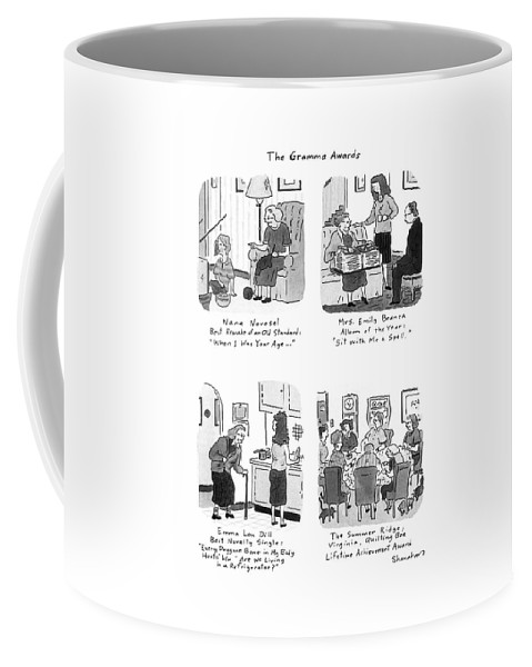 The Gramma Awards: Title. Spread Showing Four Winning Grandmothers: Nana Novosel/ Best Remake Of An Old Standard: Coffee Mug featuring the drawing The Gramma Awards by Danny Shanahan