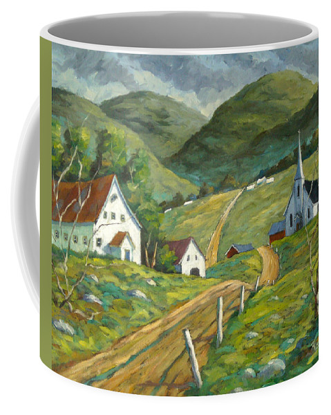 Hills Coffee Mug featuring the painting The Green Hills by Richard T Pranke