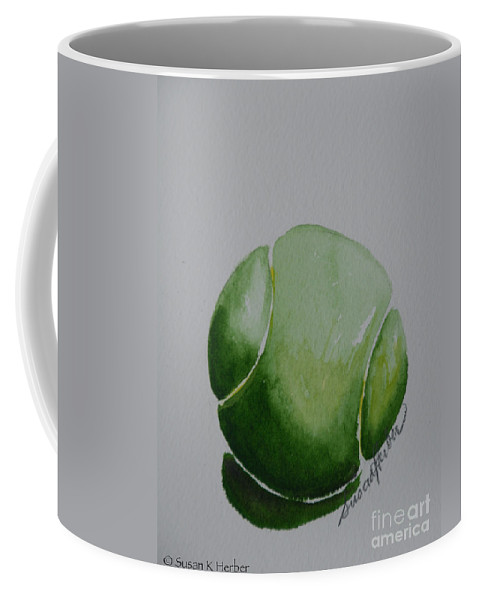 Tennis Ball Coffee Mug featuring the painting The Green One by Susan Herber