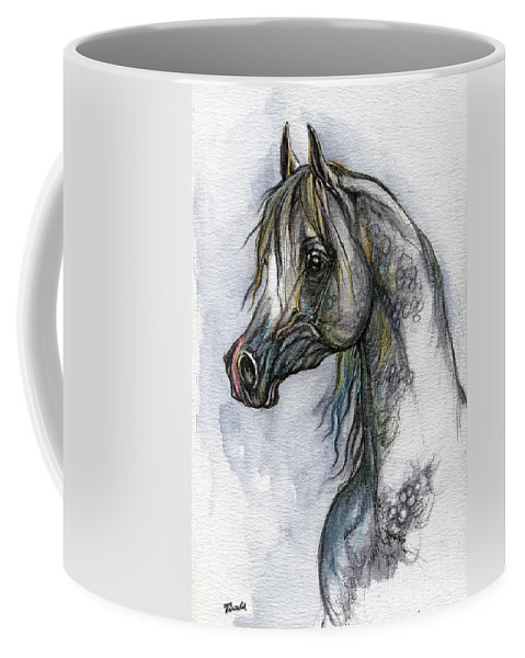 Watercolor Coffee Mug featuring the painting The Grey Arabian Horse 10 by Angel Tarantella