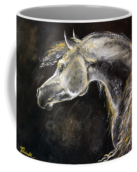 Horse Coffee Mug featuring the painting The Grey Arabian Horse 9 by Angel Ciesniarska