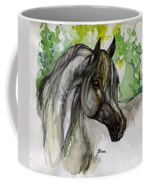 Horse Coffee Mug featuring the painting The Grey Horse Drawing by Angel Ciesniarska
