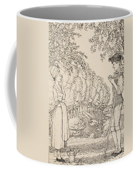Somov Coffee Mug featuring the painting The Happy Agreement by Konstantin Andreevic Somov