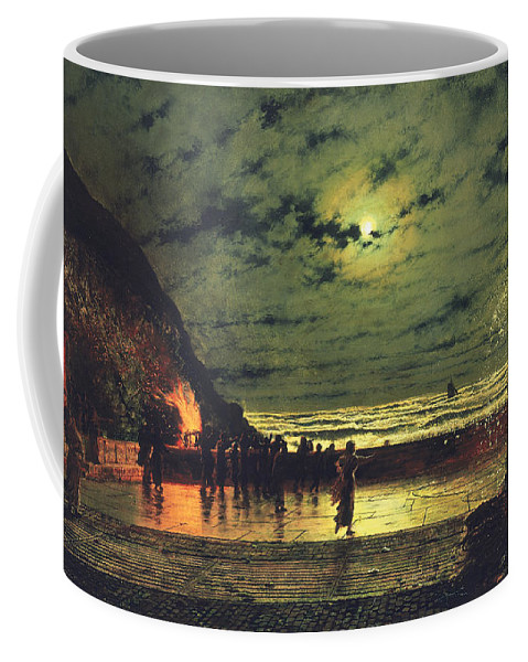 The Harbor Flare Coffee Mug featuring the painting The Harbour Flare by John Atkinson Grimshaw